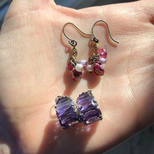 Earring bundle crystal hoops&delicate bead dangles